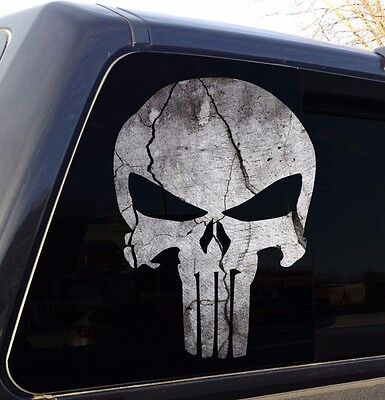 Punisher Skull Cracked Rock Stone Military Decal Sticker Graphic - 5 Sizes