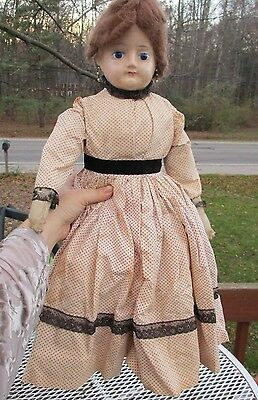 "Antique Wax Doll 24"" W Cloth Body/leather Hands/glass Eyes"
