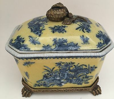 UW 1897 Porcelain Brass Yellow Blue Box Lid Stand Asian People Republic China