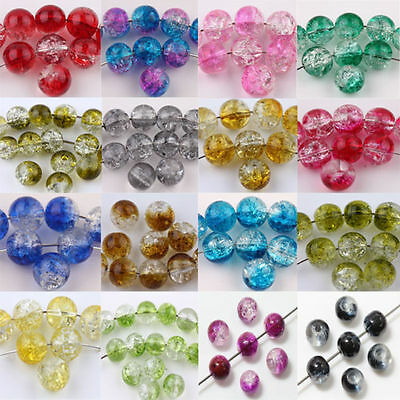 New Glass Mixed Round Crackle Crystal Charms Beads Jewelry Making 6/8/10mm
