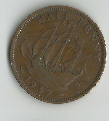 UK 1937 HALF PENNY COIN GEORGE VI good definition