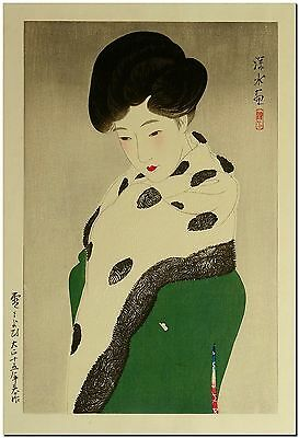 "Japanese Woodblock Art Ito Shinsui Snowy Weather Canvas Print 36"" X 24"""