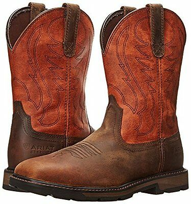 NEW Ariat Mens Brown / Ember Leather Groundbreaker Pull-on Work Boots Steel Toe