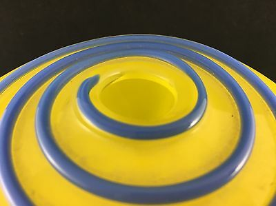 Vintage Vibrant Yellow & Blue Swirl Art Glass Bohemian Vase Loetz?