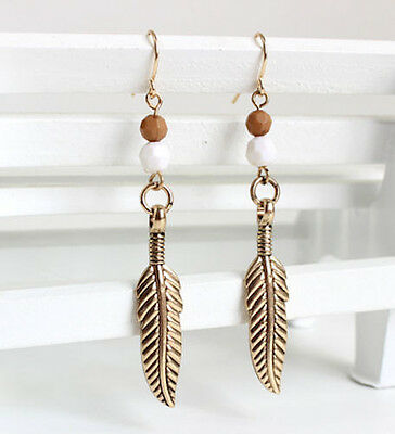 Horse & Western Jewellery Jewelry Ladies Beaded Feather Earrings Gold