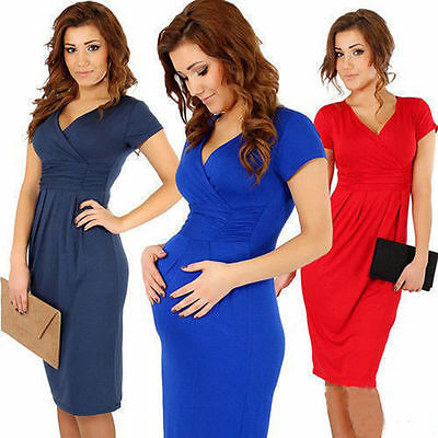 HOT Womens Casual Pregnant Short Sleeve Dress Nursing Clothes Maternity Dress