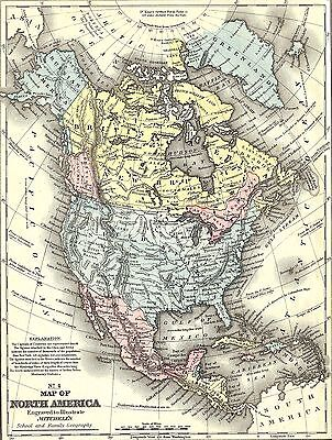 Map Of America In 1800.1800 North America Map Canvas Print Poster 16x12