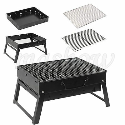 Protable Outdoor Barbecue Stainless Steel Folding BBQ Travel Camping Grill New