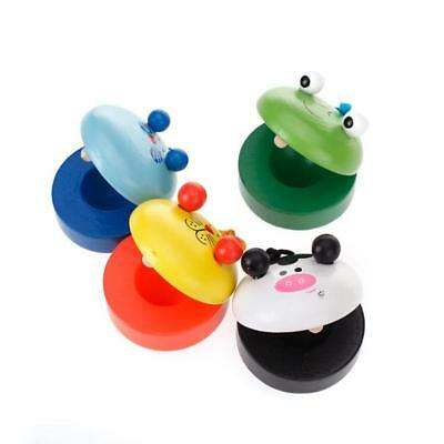 Kids Musical Percussion Instrument Wooden Castanets Music Lovers Gift Random