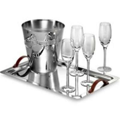 Godinger 6410 Champagne Tray and Bucket with Four Glasses