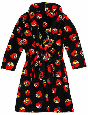 Boys Angry Birds Luxury Fleece Dressing Gown Bathrobe Black 4 to 14 Years