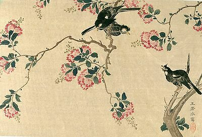"""Japanese woodblock print 1920s """"Lagersfroeinia"""" by Wong Je-shui"""