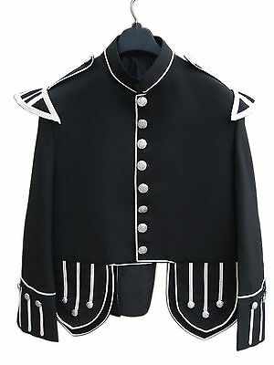 JACKET SIZE 40 BLACK WOOL PIPERS DRUMMERS TUNIC DOUBLET QSUK03, Complete New