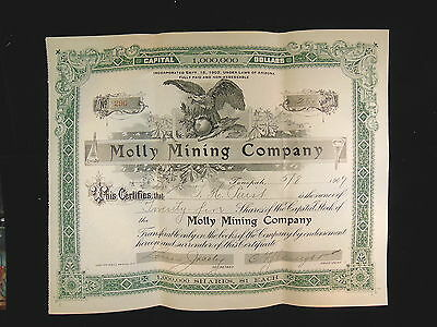 Vintage Original Stock Molly Mining Company  Certificate