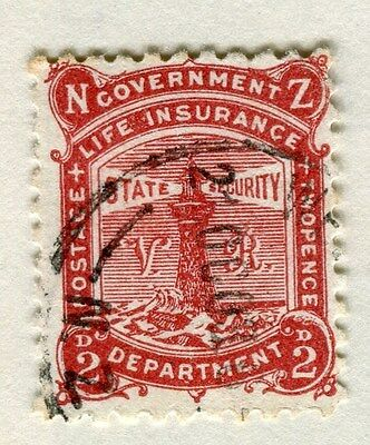 NEW ZEALAND;  1891-98 classic Life insurance Lighthouse issue used 2d. value