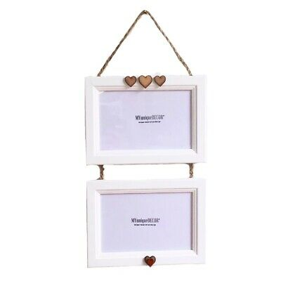 Handmade Double White Wood Picture Photo Frame Hanging Heart Vintage 6x4 6 x 4