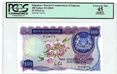 Singapore … P-6a … 100 Dollars … ND(1967) … *XF+* PCGS 45-Small Repair.