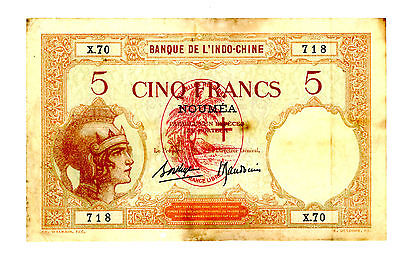 New Hebrides … P-4b … 5 Francs … ND(1941) … *VG-F*
