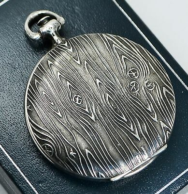 Antique HUGUENIN Swiss SILVER Pocket Watch Style COMPACT With Mirror - BARK