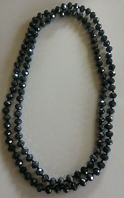 Vintage long black faceted bead necklace