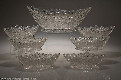 c. 1885 # 406 IMITATION RICH CUT by Gillinder & Sons CRYSTAL 7 Piece Berry Set