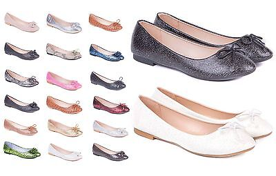 Ladies & Girls Flat Slip On Shoes Size 3 to 8 UK - Ballerina Pumps & Ballet Shoe