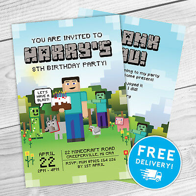 Minecraft Personalised Kids Party Invitations + Thank You Cards | Any Name/info!