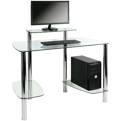 Hartleys Clear Glass Computer/PC Desk Table Work Station Study Office Furniture