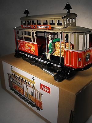 Tinplate Toy Clockwork Wind Up San Francisco Tram  Reproduction Antique Vintage