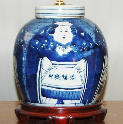 Chinese Export LAMP  Four Faces GINGER JAR Vase Porcelain Pottery Blue and White