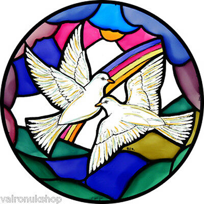 Stained Glass Window Art - Static Cling  Decoration - Doves Of Peace