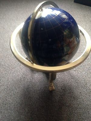 Large Gemstone Globe with Compass, Lapis Blue VGC