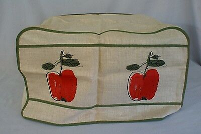 Rare - Vtg. Vera Linen Appliance Cover - Red apples - Green Piping