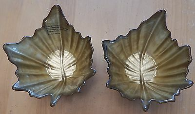 Glass Candy Dishes Fall Autumn Leaves Set of 2 Gold