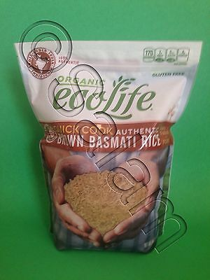 EcoLife Quick Cook Authentic Brown Basmati Rice USDA Organic Kosher 4 lbs
