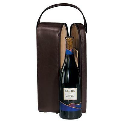 Royce Leather 621-BURGUNDY-6 Suede Lined Single Wine Carrying Case Burgundy