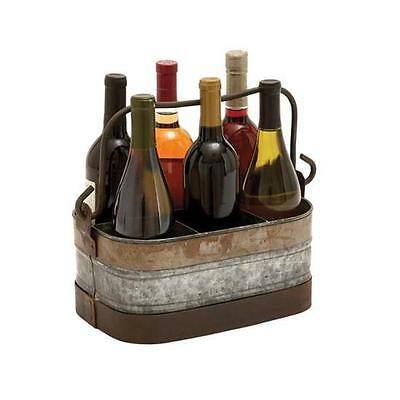 Woodland Import 38184 Galvanized Wine Holder with Six Compartments
