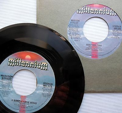 MADISON STREET lot of 2 mint minus SOUL 45's SIMPLE LOVE SONG MINSTREL MAN F882