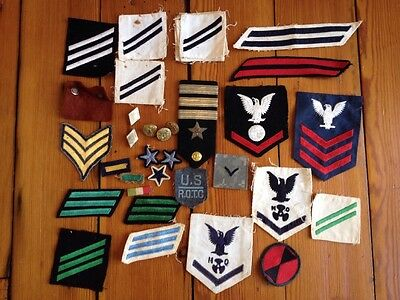 Lot of Vintage Antique US Military Army Navy Airforce Uniform Rank Etc Patches