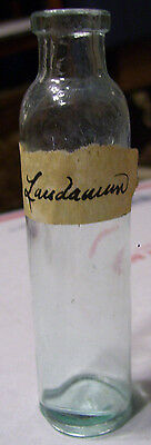 Antique Glass Bottle With Hand-Written Laudanum Label 4-1/4 inches