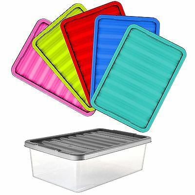 32 Litres Large Plastic Underbed Storage Clear Box with Colour Lid - 5 Boxes