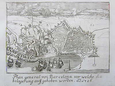 Merian Large Decorative View Barcelona Spain - 1759
