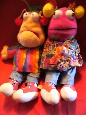 """Zig and Zag hand puppets  Big Breakfast Vivid imagination 1993 both approx 16"""""""