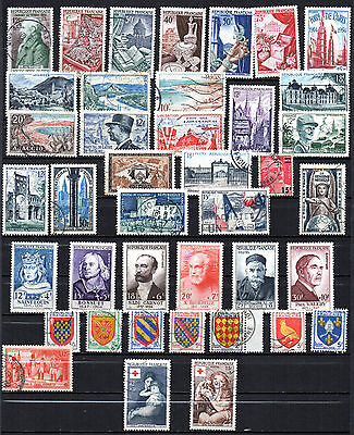 France// 40 Timbres Obliteres De 1954 - Annee Complete