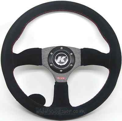 KODE-350mm Half Dish Suede Steering Wheel Red Stitch Fits MOMO OMP Boss Kit