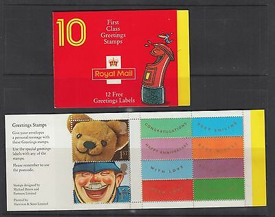 Gb 1991 Smiles Stamp Booklet Greetings Sg:kx3