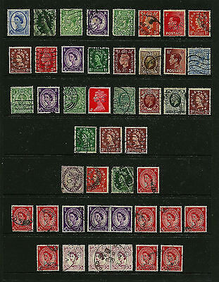 Great Britain 45 Perfins - 27 Different - Bottom Three Rows Are Dupes