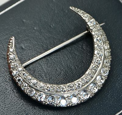 London 1954 Superb STERLING SILVER & White Paste Double Row CRESCENT MOON Brooch
