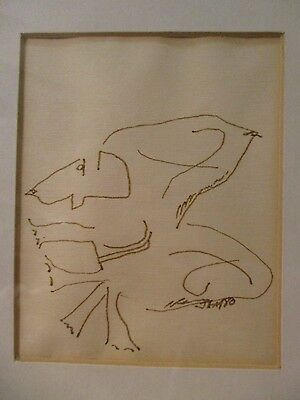 Framed Abstract Ink Drawing of a Dog - Signed JM 1980