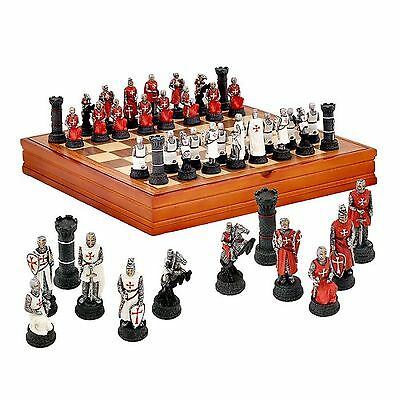 CHESS figures set KNIGHTS TEMPLAR - WOODEN BOX with GAME BOARD 37/37 cm